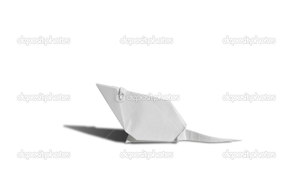 White Origami Mouse Isolated On White Stock Photo Chupi 48034201