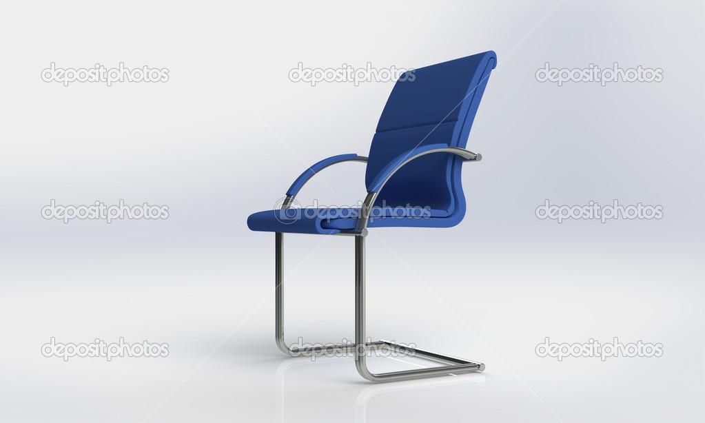 Sedia Ufficio Elegante : Sedia da ufficio blu elegante isolato su bianco u foto stock