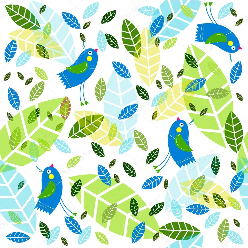 Vector background with birds and foliage.