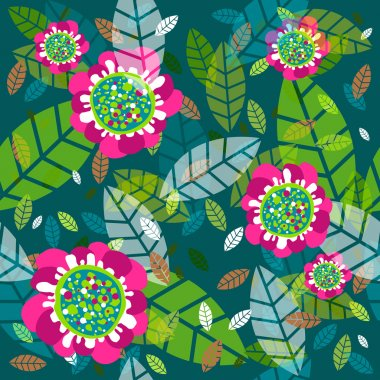 Vector background with flowers and foliage