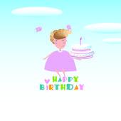 dívka a dort. Hodně štěstí a zdraví