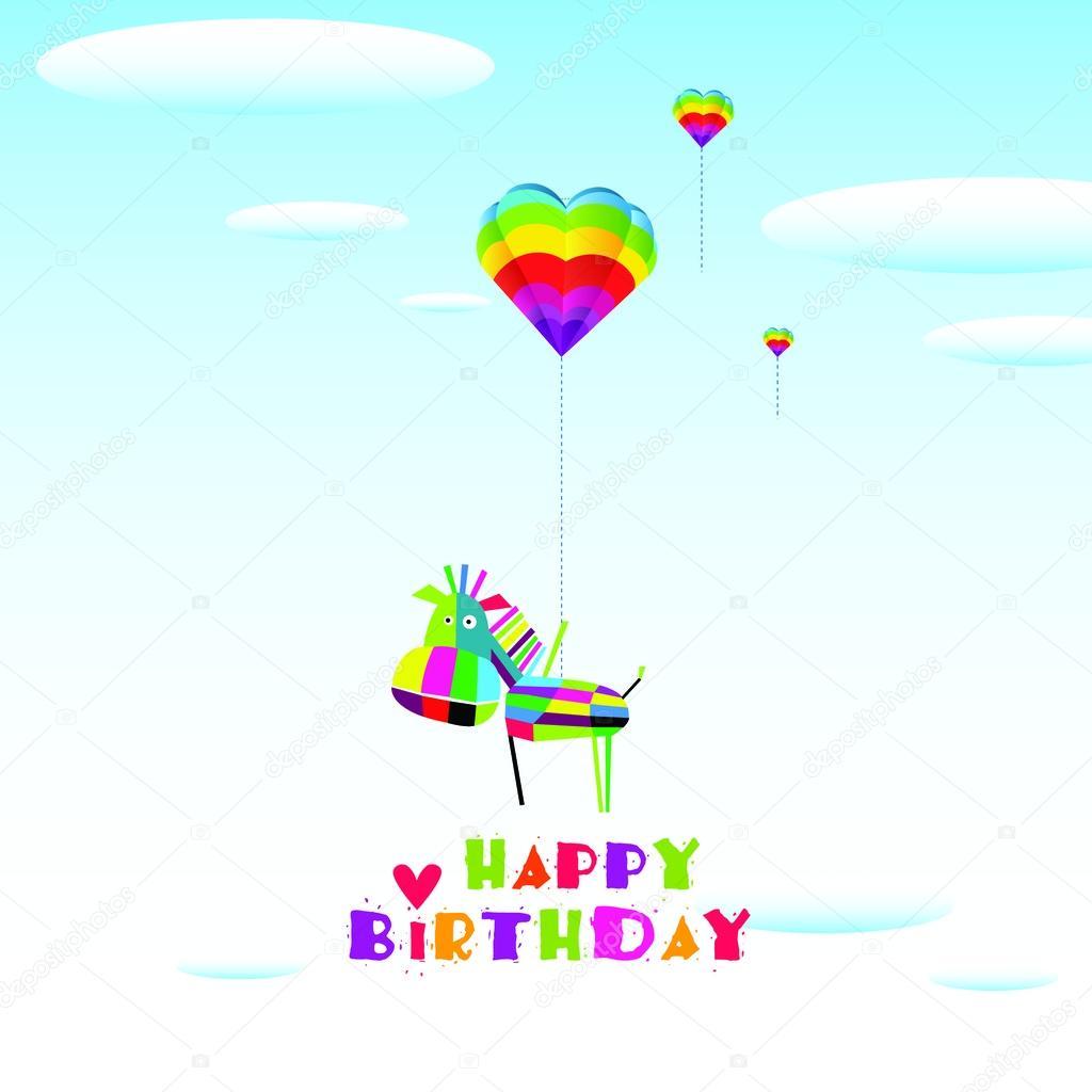 Illustration with horse. Happy birthday