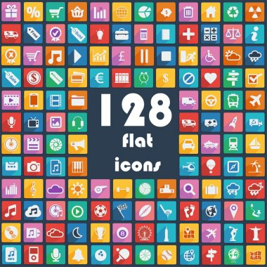 Big collection of flat icons - Transport, Communication, Sport, Multimedia, Music, Weather, Etc.