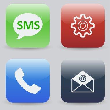Colorful mobile phone menu icons.