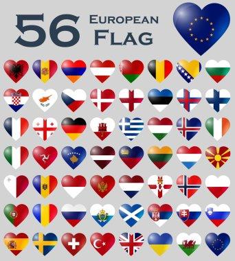European flags in heart shape.