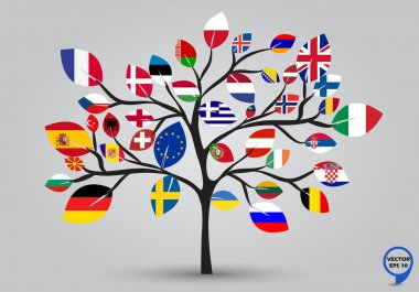 Leaf flags of Europe in tree design