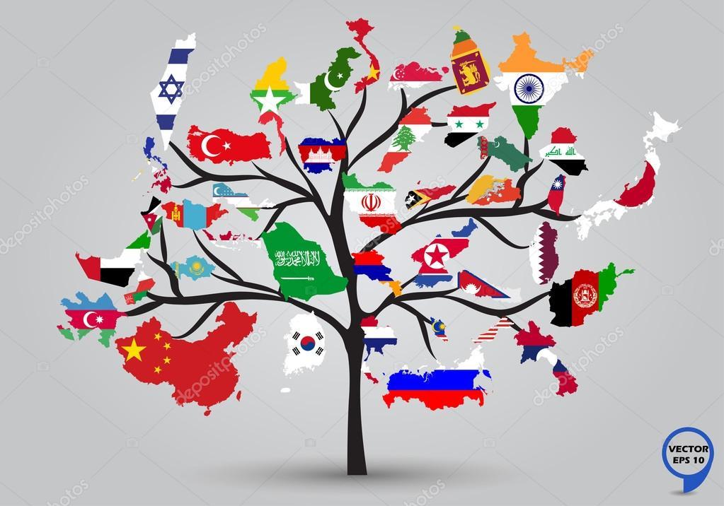 mapa banderas de asia en el diseo de rbol u vector de stock