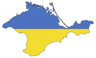 Crimea peninsula with Ukrainian flag