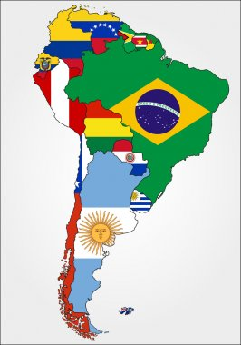 South America Map With Flags.