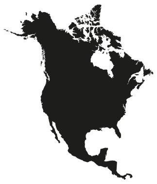 North America Map Silhouette.
