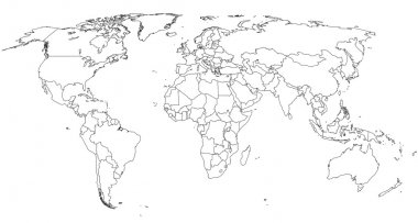 World blind map with capital dots