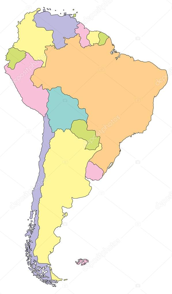 South America Political Map. — Stock Vector © delpieroo #51647335