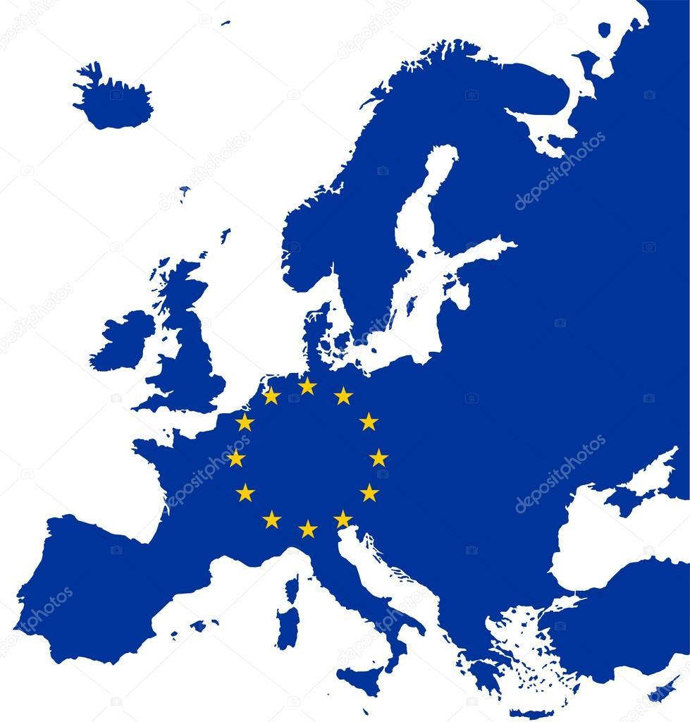 carte de l'Europe avec le drapeau de l'union européenne — Image
