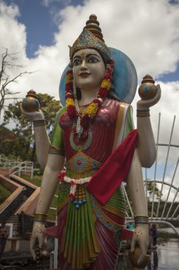 Statue of Hindu Goddess Gayathri at Grand Bassin in Mauritius