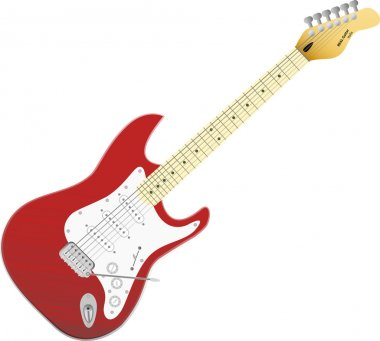 Red vector electro guitar. Music in your life.