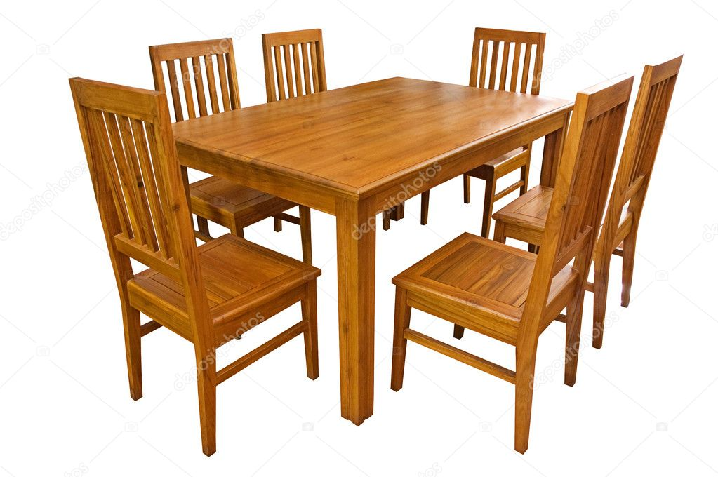 Dining Table And Chairs Isolated Stock, Art Van Dining Room Sets