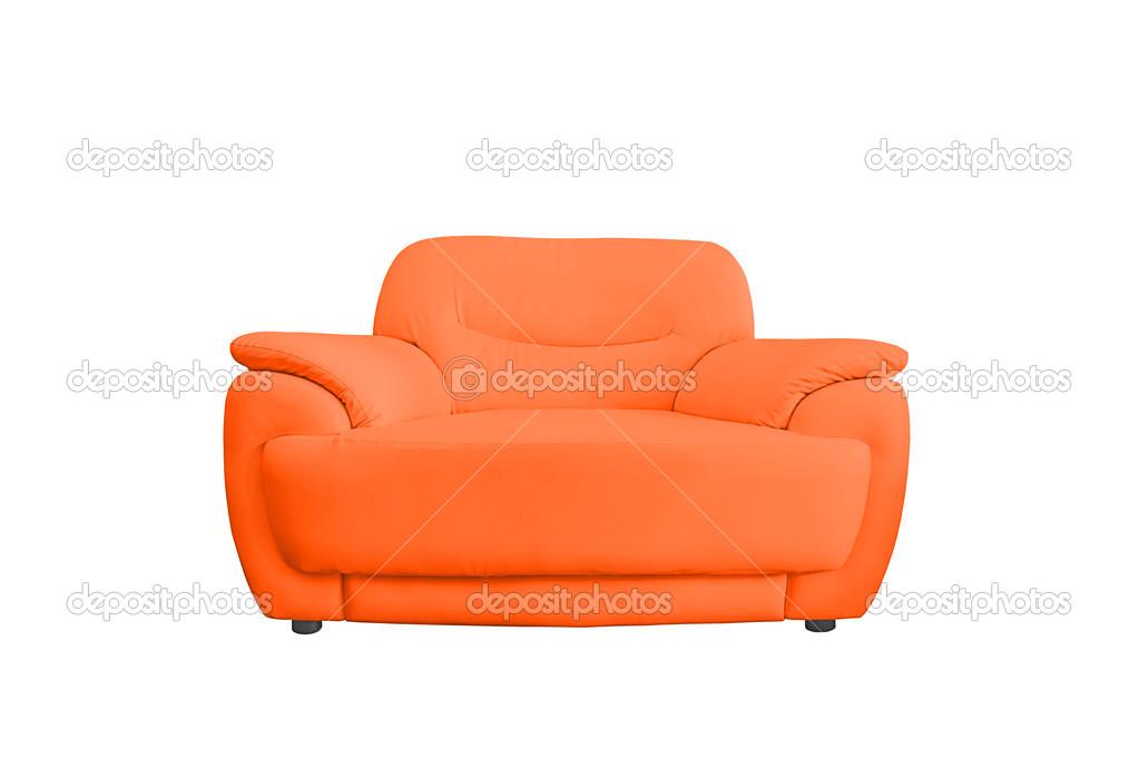 Divano Pelle Arancione : Divano in pelle arancione u foto stock nuwatphoto