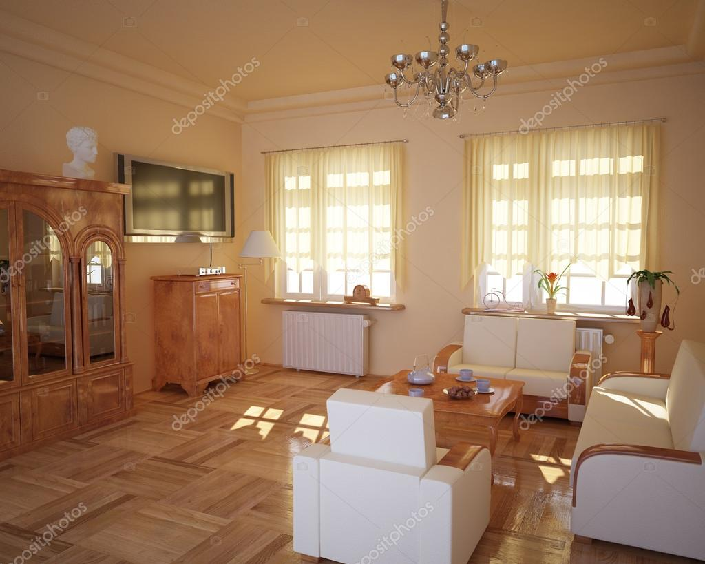 soggiorno stile classico, con il sole dietro le tende — Foto Stock ...