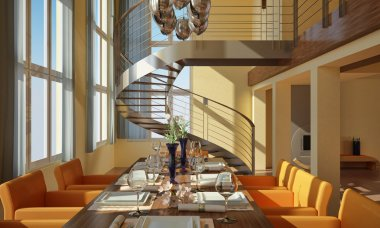 Modern dining room with wide windows and spiral staircase.