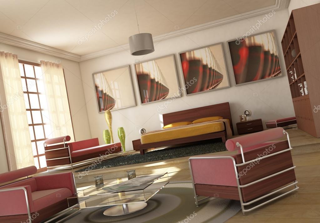 spazio aperto soggiorno camera da letto moderna — Foto Stock ...