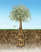pénz fa a talajban keresztmetszete minket dollár jel gyökerek.