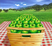 Photo Green apples into a wooden box on a table, with landscape and ap