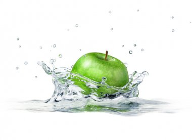 Green apple splashing into water. close up side view, with depth