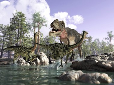 Photorealistic 3 D scene of a Tyrannosaurus Rex, hunting two Gallimimus