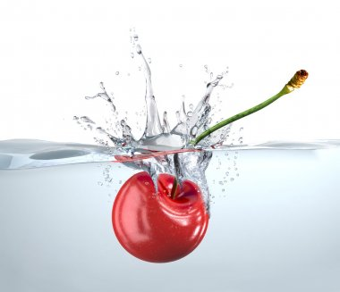 Red cherry falling into water and splashing.