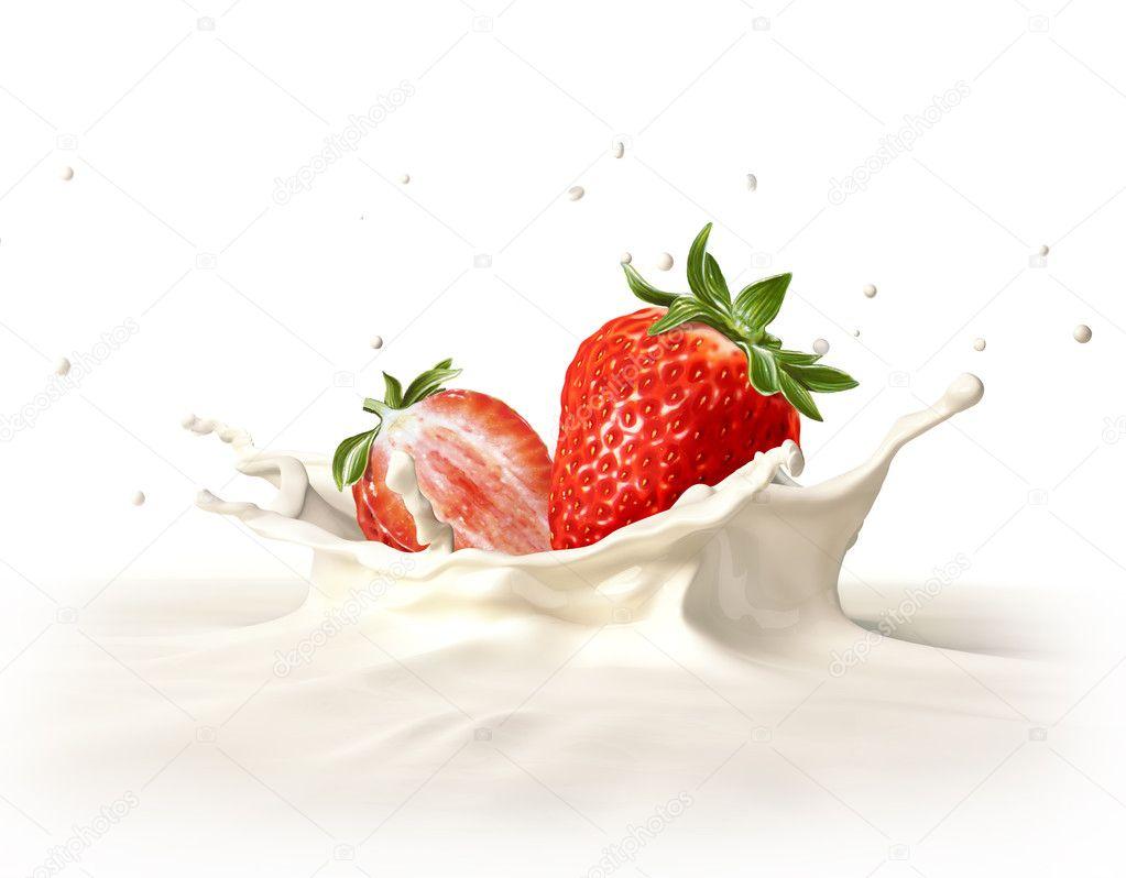 Two strawberries falling into milk splashing.