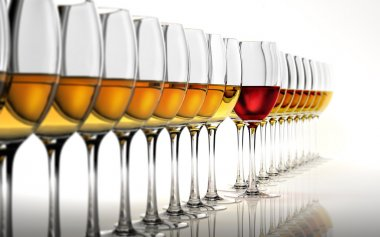 Row of many white wine glasses, with a red one standing out in t