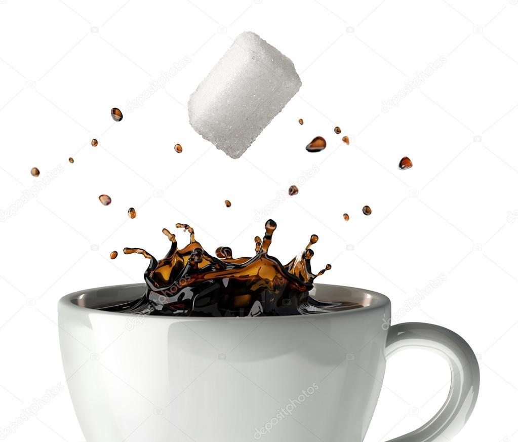 Sugar cube falling and splashing into a cup of black coffee. Clo