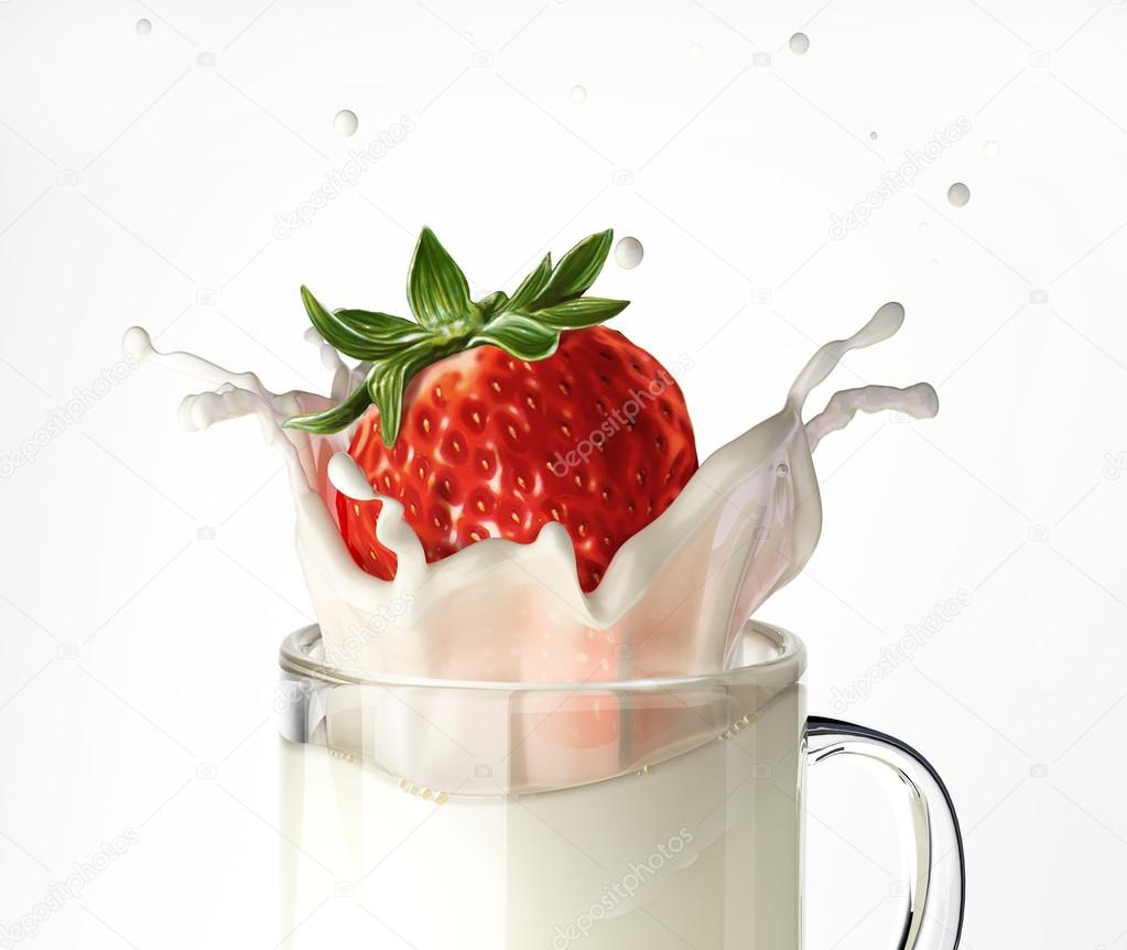 Strawberry falling into a glass mug full of milk, splashing.