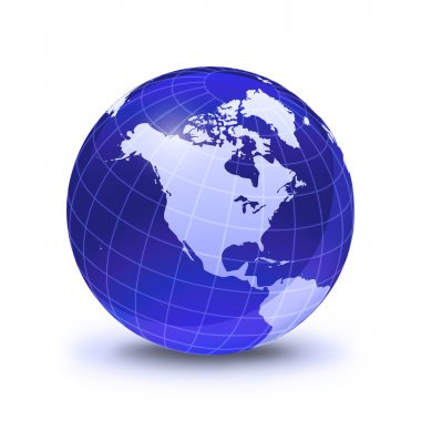 Earth globe stylized, in blue color