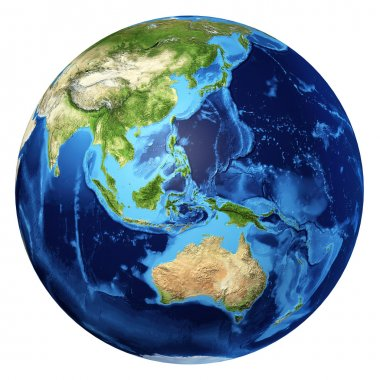 Earth globe, realistic 3 D rendering. Oceania view.