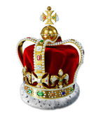Royal gold crown, with many jewels and decorations, isolated on