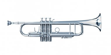 Silver trumpet viewed from a side.