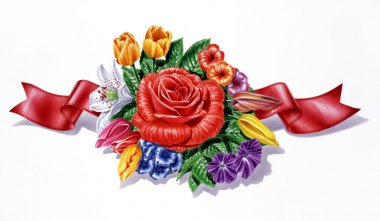 Flowers, different species and multicolor composition, with red