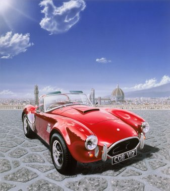 AC Cobra car, in Michelangelo Square in Florence, Italy. Airbrus