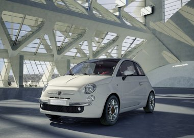 Fiat 500 city car, alone in the middle of a huge modern building