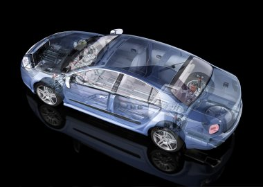 Generic sedan car detailed cutaway representation, with ghost effect