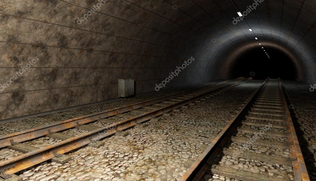 Old rail train tunnel with double track. Dark bottom, with some lights inside.