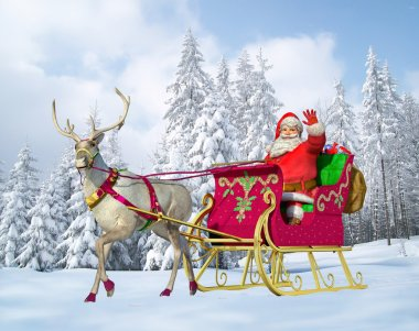 Santa Claus on his sleigh and reindeer on snow, with snow capped