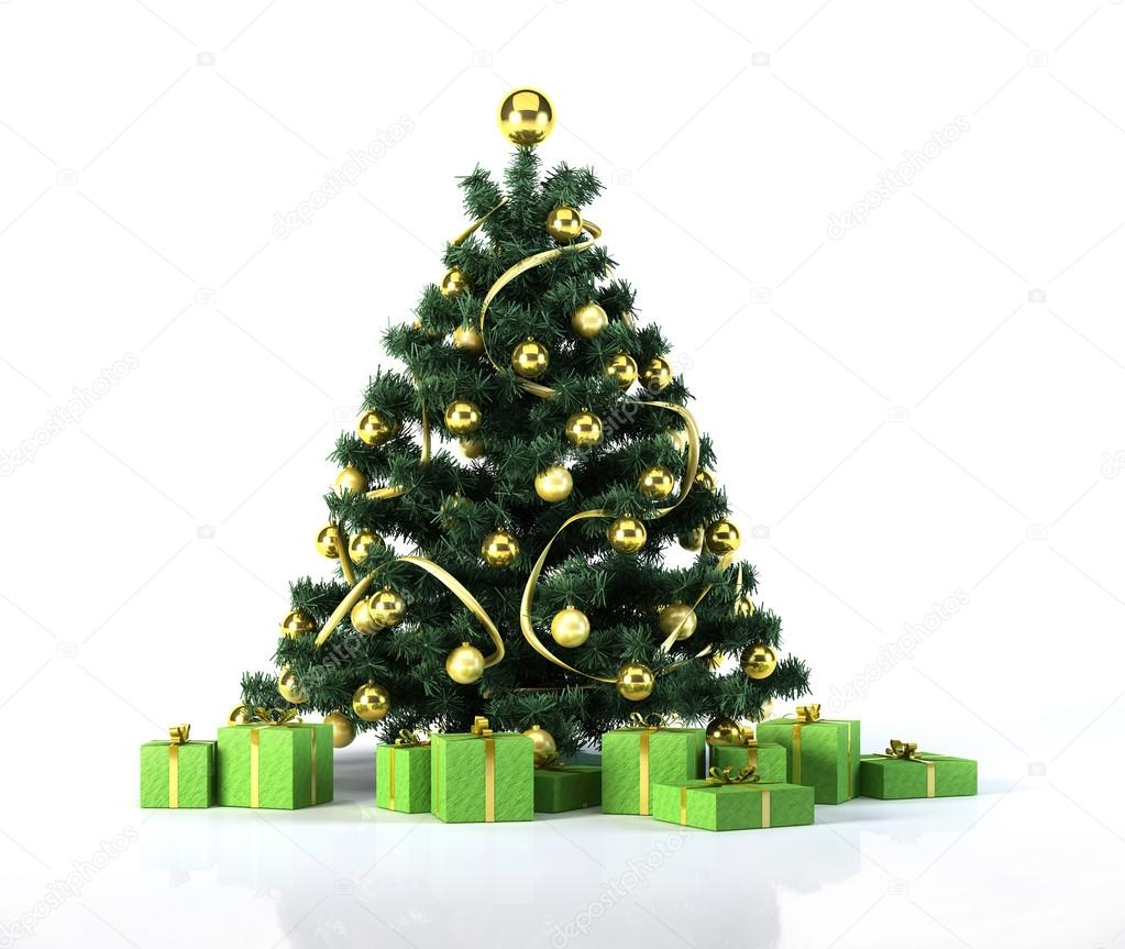 Pallina Natale Con Foto Digitale.Albero Di Natale Con Palline Dorate E Decorazione Di Sotto