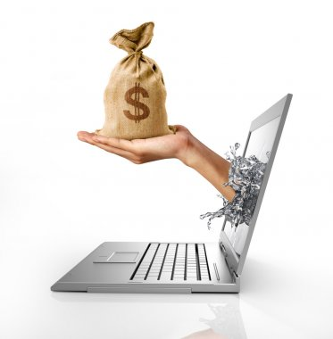 Man's hands, splashing out from a computer laptop screen, holding a bag of US Dollars money on it. On white background, with clipping path included. stock vector