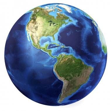 Earth globe, realistic 3 D rendering. Americas view. (Source map
