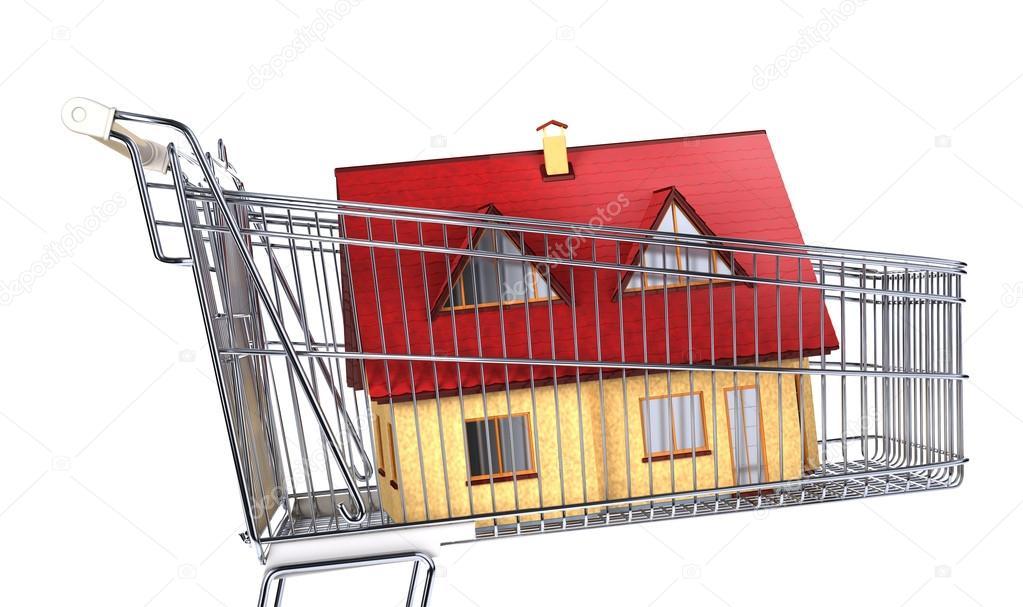 Trolley In Huis : Huis in een supermarkt trolley u stockfoto pixelchaos
