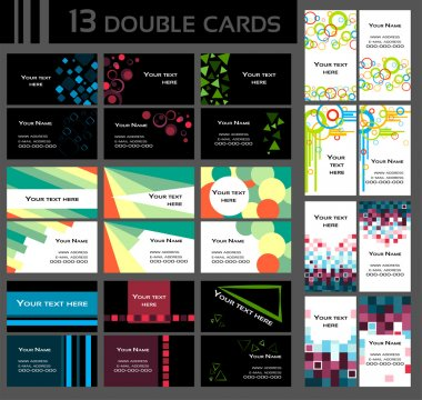 Set of 13 double business cards,