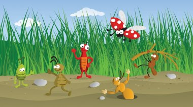 Funny Bugs in the Grass