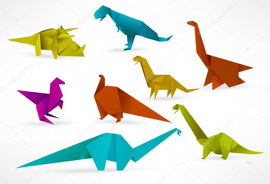 dinosaurios de origami Vector de stock jirikaderabek 26280965
